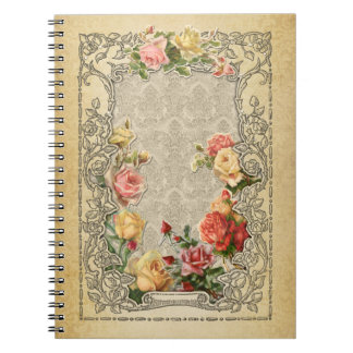 Romantic Vintage Sculpted Roses Spiral Note Book