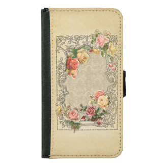 Romantic Vintage Sculpted Roses Wallet Phone Case For Samsung Galaxy S5