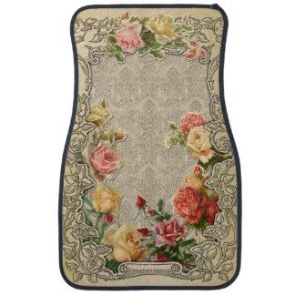 Romantic Vintage Sculpted Roses Floor Mat
