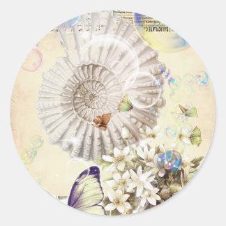 Romantic Vintage seashell butterfly paris fashion Classic Round Sticker