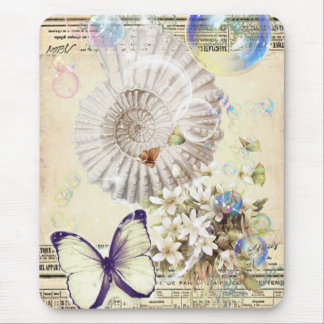 romantic Vintage seashell butterfly wedding Mouse Pad