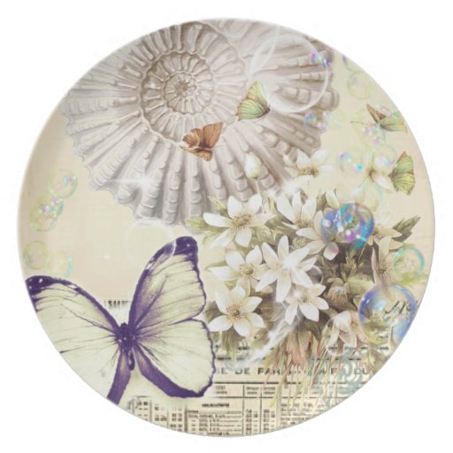 romantic Vintage seashell butterfly wedding Plates