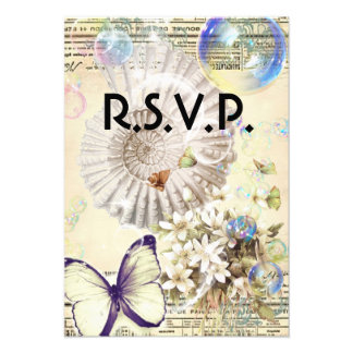 romantic Vintage seashell butterfly wedding RSVP Personalized Announcements