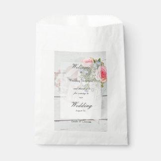 Romantic vintage spring flower editable wedding favor bag