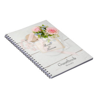 Romantic vintage spring flower wedding guest book