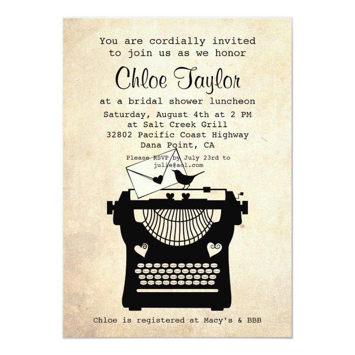 Romantic Vintage Typewriter Bridal Shower Invite