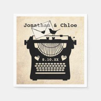 Romantic Vintage Typewriter Paper Napkin