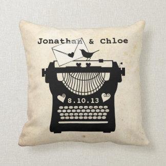 Romantic Vintage Typewriter Throw Pillows