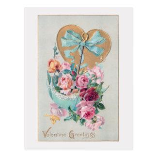 Romantic Vintage Valentine Roses and Heart Postcard