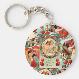 Romantic Vintage Valentines collage Keychain