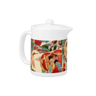 Romantic Vintage Valentines collage Teapot