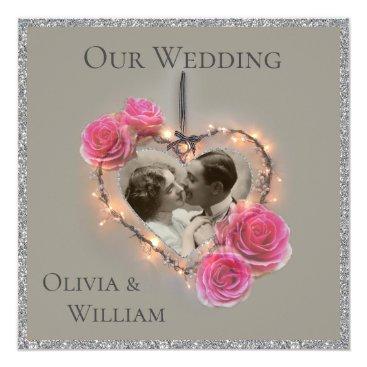 Romantic vintage wedding invitation