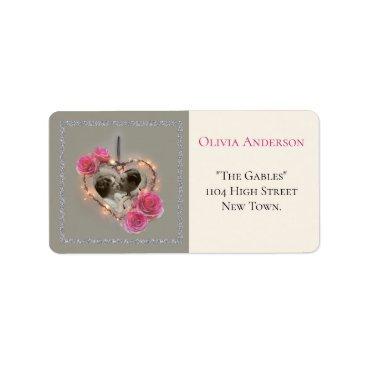 Romantic vintage wedding invitation label