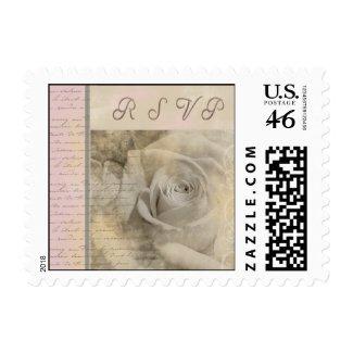 Romantic vintage wedding rose - RSVP stamp