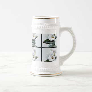 Romantic Vintage White Calla Lilies Beer Stein
