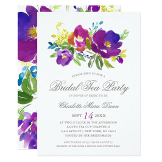 Romantic Violet Floral Bridal Shower Invitation