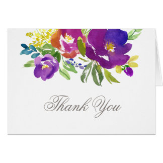 Romantic Violet Floral Thank You Card