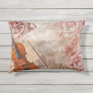 Romantic Violin Outdoor Accent Pillow