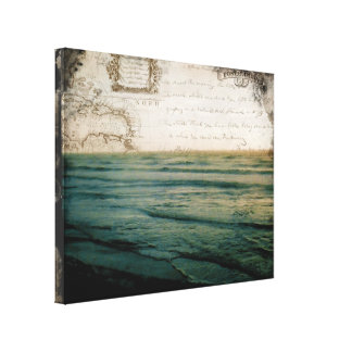 Romantic Voyage vintage honeymoon wrapped canvas Stretched Canvas Prints