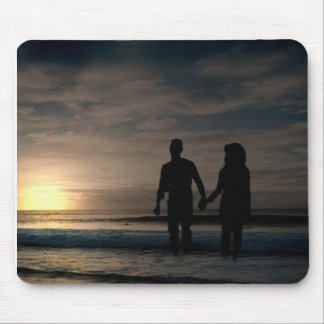 romantic wade in the water at sunset, mousepad