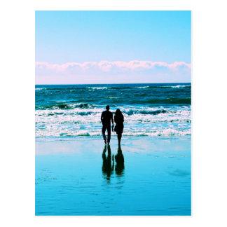 Romantic Walk on the Beach Postcard