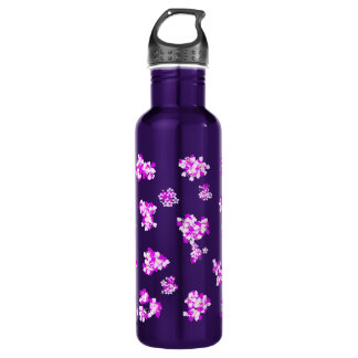 Romantic wallpaper with pink flowers stainless steel water bottle