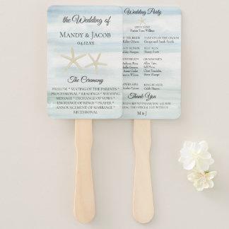 Romantic Watercolor Beach Wedding Program Hand Fan