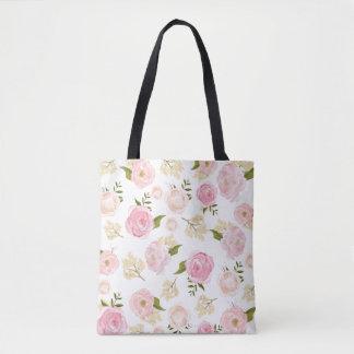 Romantic Watercolor Blush Peonies Floral Pattern Tote Bag