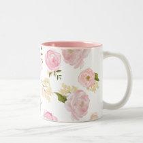 Romantic Watercolor Blush Peonies Floral Pattern Two-Tone Coffee Mug