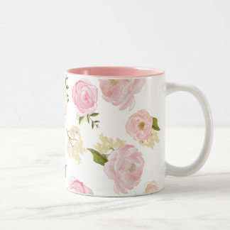 Romantic Watercolor Blush Peonies Floral Pattern Two-Tone Coffee Mug
