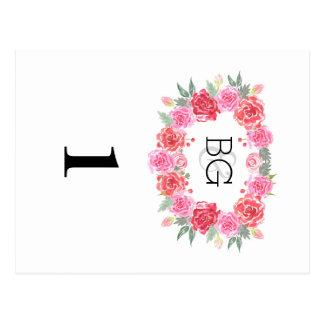 Romantic watercolor bohemian rose wreath postcard