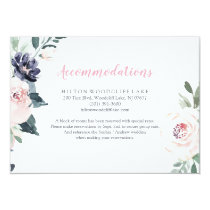 Romantic watercolor botanical floral accommodation card