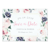 Romantic watercolor botanical floral save the date card