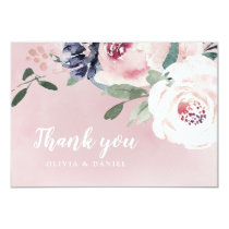 Romantic watercolor botanical floral thank you card