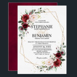 """Romantic Watercolor Burgundy Floral Geometric Invitation<br><div class=""""desc"""">Elegant and modern romantic geometric watercolor floral wedding invitation card features a bouquet of burgundy / marsala , blush pink, Purple, peach watercolor roses with matching foliage. Perfect for a fall / midsummer wedding. Please find more matching designs and variations from my """"blissweddingpaperie"""" store. And feel free to contact me...</div>"""