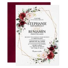Romantic Watercolor Burgundy Floral Geometric Invitation at Zazzle