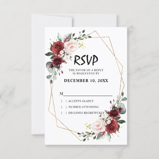 Romantic Watercolor Burgundy Floral Geometric RSVP Card