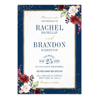 Romantic Watercolor Burgundy Wedding Floral Invitation