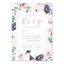 Romantic watercolor floral botanical wedding RSVP Card