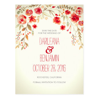 Romantic Watercolor Floral Rustic Save The Date Postcard
