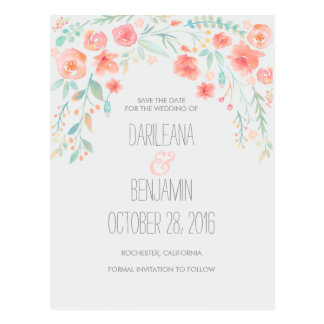 Romantic Watercolor Floral Save The Date Postcard