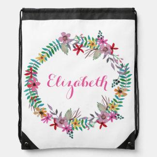 Romantic Watercolor Floral Wreath Custom Name Drawstring Bag