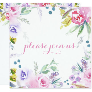 Romantic Watercolor Flower Blossoms Reception Only Card