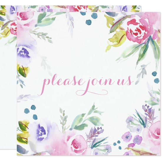 Romantic Watercolor Flower Blossoms Reception Only Invitation