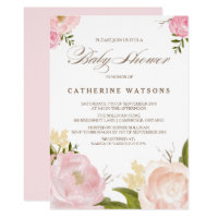 Romantic Watercolor Flowers Baby Shower Invitation