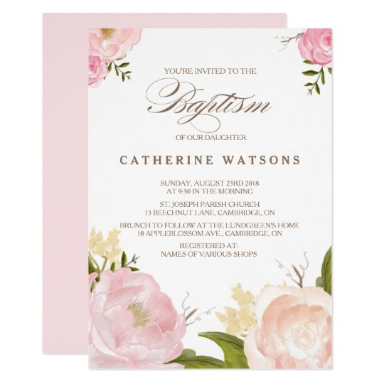Romantic Watercolor Flowers Baptism Invitation Zazzlecom