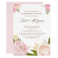Romantic Watercolor Flowers Bat Mitzvah Invitation