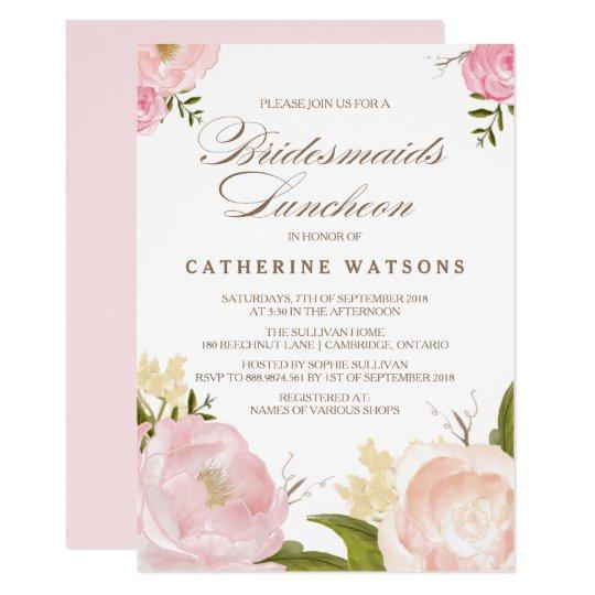 Romantic Watercolor Flowers Bridesmaids Luncheon Invitation Zazzle Com