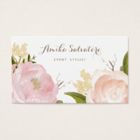 Romantic Watercolor Flowers Business Card