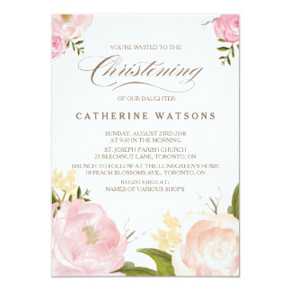Romantic Watercolor Flowers Christening Photo Card